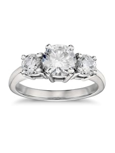 1.01 Ct 3 Stone Diamond Engagement Ring