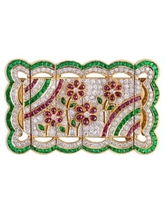 Amazing Estate Flower Ruby & Diamond & Emerald Pin Brooch in 18k Yellow Gold