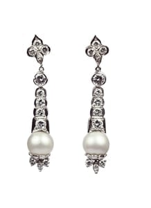 Pendant Pearl & Diamond Earrings