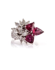 Platinum Ruby & Diamond Estate Ring