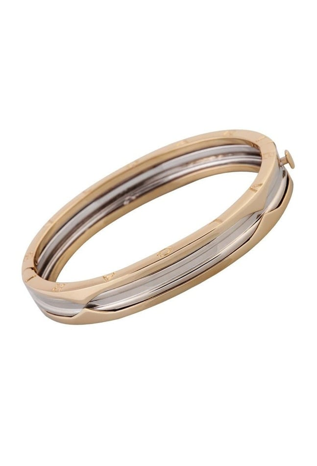 Bulgari 14k Bangle White & Yellow Gold Bracelet B.Zero1