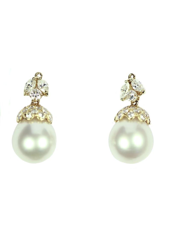 estate pearl earrings in 18k yg