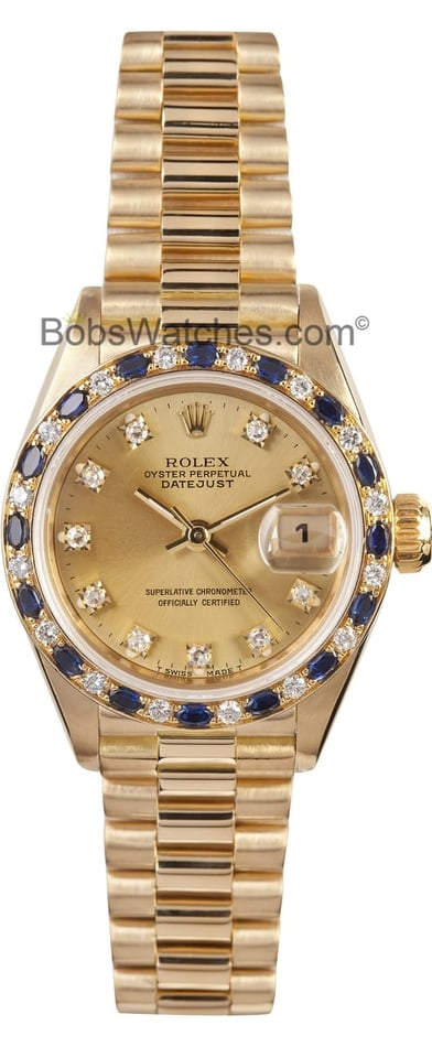 Rolex Ladies President Watch 69168, Sapphire diamond bezel