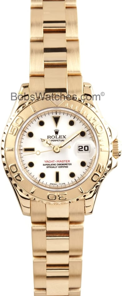 Pre-owned Rolex Yachtmaster Ladies 18k Gold 69628