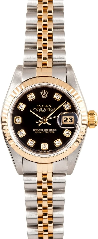Ladies Rolex Datejust Watch 79173 Black Diamond