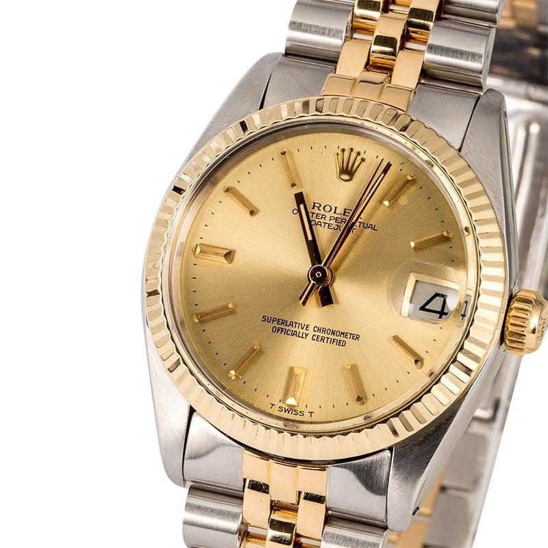 34e935c63cc Mid-Size Rolex Datejust 6827 Two-Tone Jubilee Bracelet Rolex Box