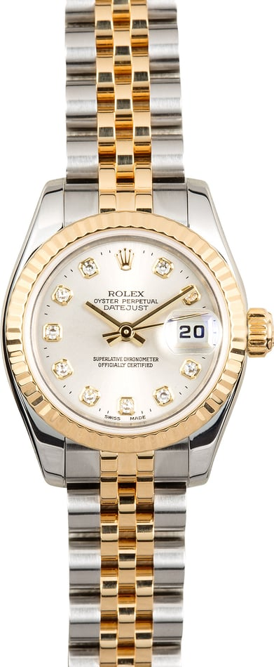 Rolex Ladies Datejust 179173 Silver Diamond Dial