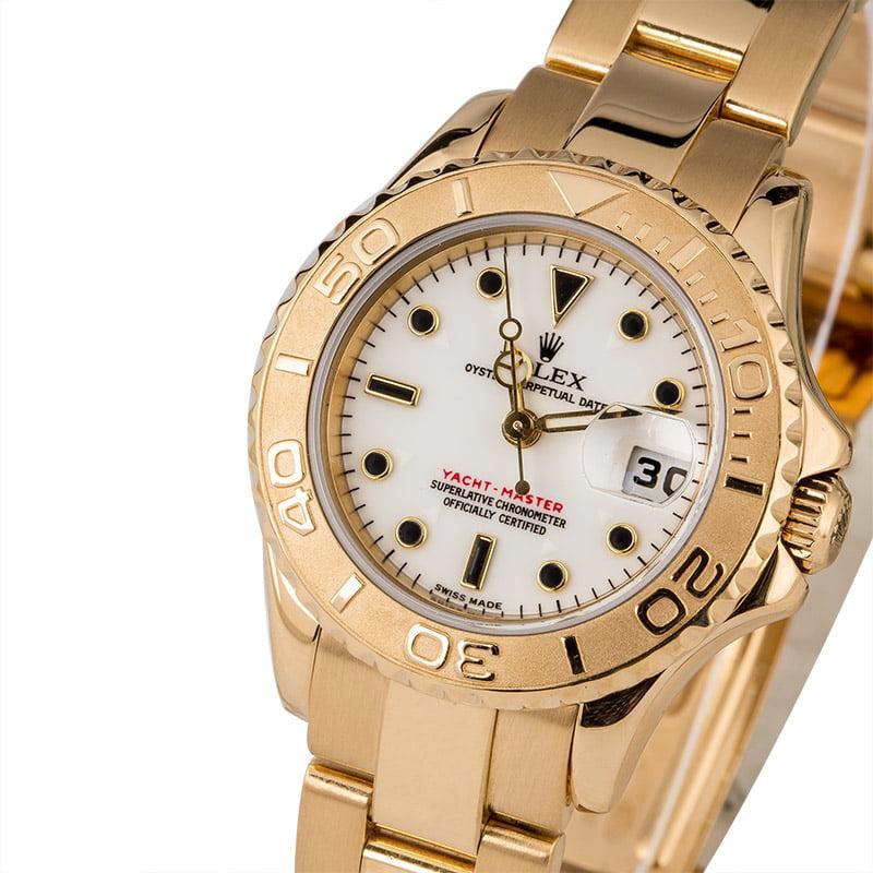 Ladies Rolex Yacht,Master 18K Yellow Gold Ref. 169628 White Dial, Circa 2001