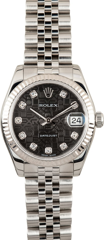 Rolex Datejust 178274 Black Jubilee Diamond Dial