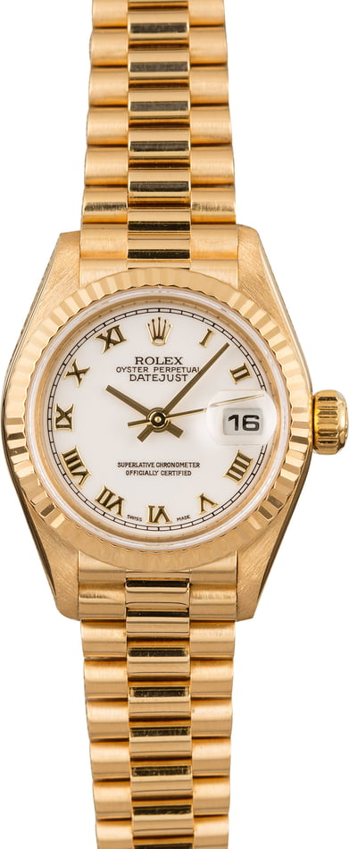 Used Rolex Ladies President 79178 White Roman Dial