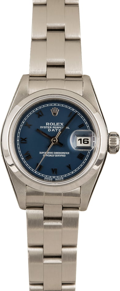 Pre-Owned Rolex Ladies Date 69160 Blue Roman Dial