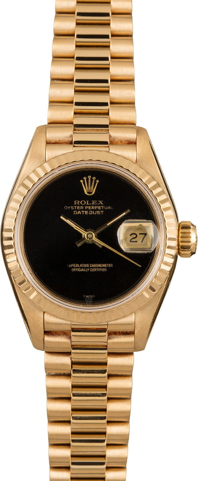 Rolex Ladies President 69178 Black Dial