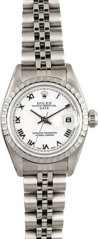 Ladies Rolex Date 79240 White Roman Dial