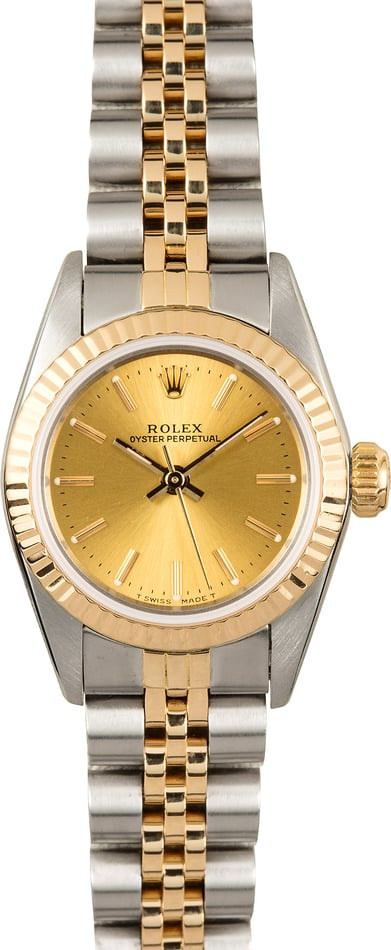 Ladies Rolex Oyster Perpetual 67193 Champagne Dial