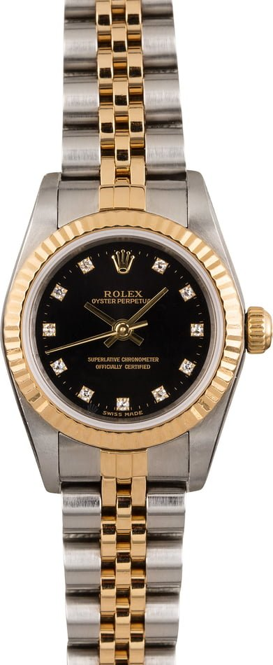 Pre Owned Rolex Oyster Perpetual 76193 Diamond Dial