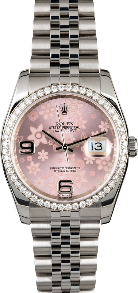 Rolex Floral Datejust 116244 Diamond Bezel
