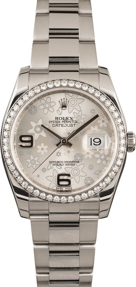Used Rolex Datejust 116244 Diamond Bezel Silver Floral Dial T