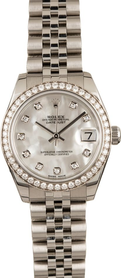 Mid-Size Rolex Datejust 178384 Mother of Pearl Dial