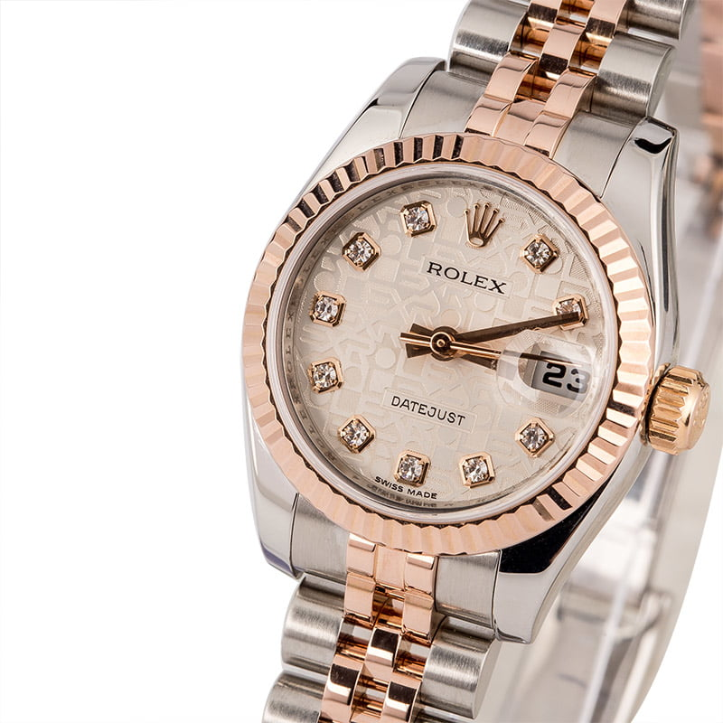 11aa04bc95a39 Pre Owned Rolex Datejust 179171 Silver Jubilee Diamond Dial