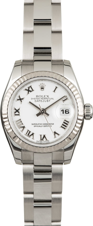 Used Rolex Datejust 179174 White Roman Dial