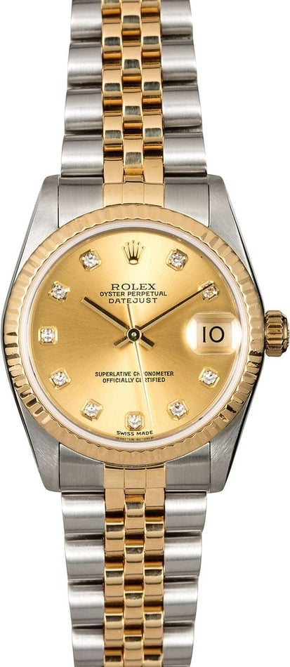 Midsize Rolex Datejust 68273 Diamond Dial TT
