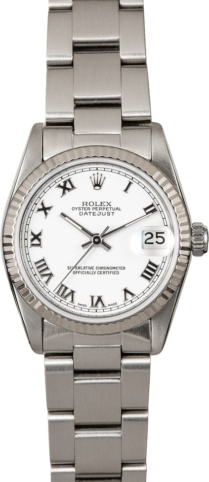 Mid-size Rolex Datejust 68274 White Roman Oyster