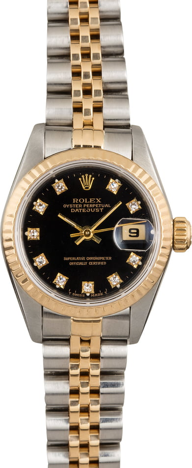 Pre Owned Rolex Datejust 69173 Black Diamond Dial