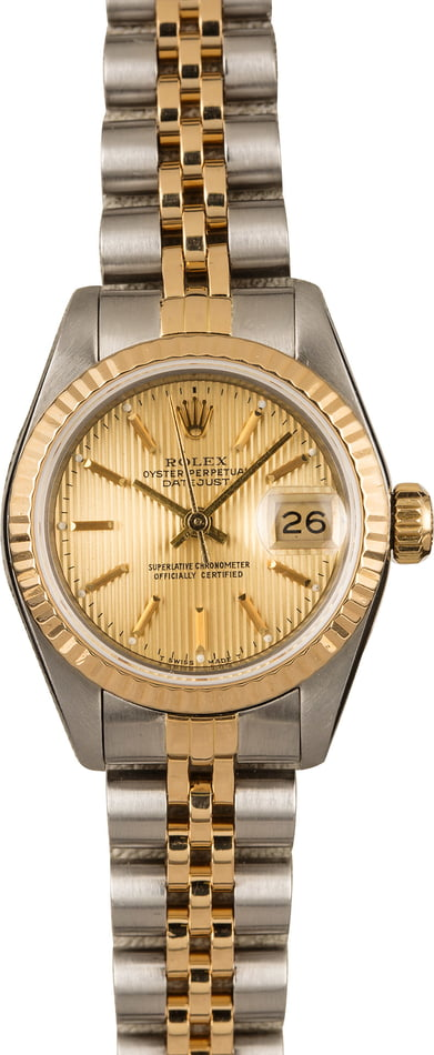 Pre-Owned Rolex Datejust 69173 Champagne Tapestry Dial T