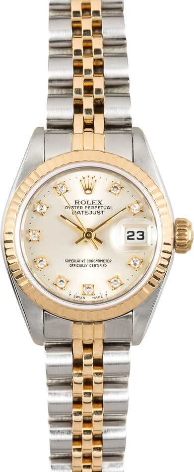 Lady Rolex Datejust 69173 Silver Diamond