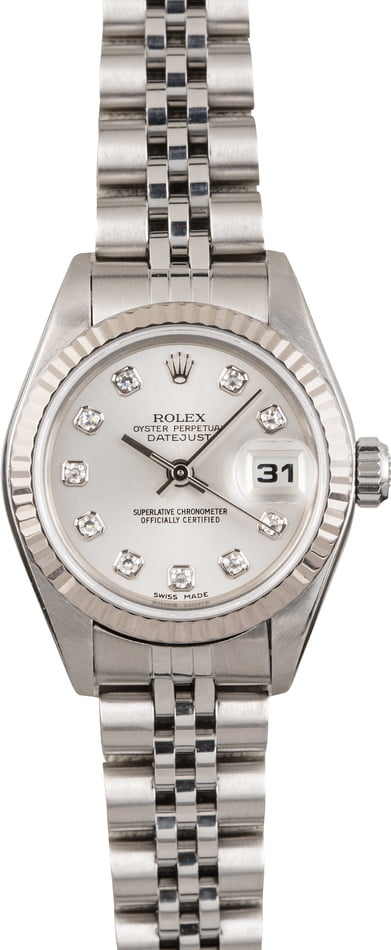 Pre Owned Rolex Datejust 79174 Silver Diamond Dial