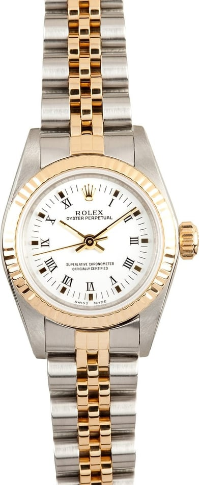 Rolex Ladies White Roman Oyster Perpetual 76193