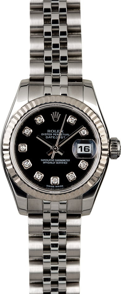 Rolex Ladies Datejust 179174 Black Diamond Dial