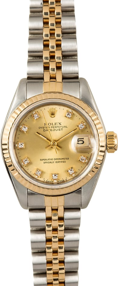 Rolex Ladies Datejust 69173 Diamond 100% Authentic