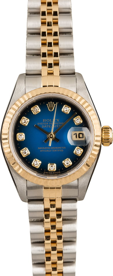 Pre-Owned Rolex Ladies Datejust 79173 Blue Vignette Diamond Dial