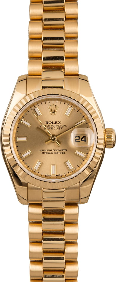 Pre-Owned Rolex Ladies President 179138 Yellow Gold