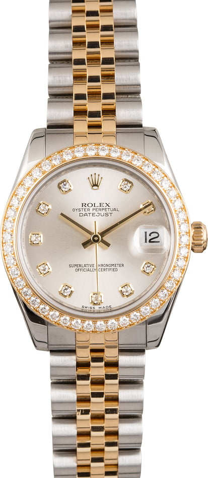 PreOwned Rolex Datejust 178383 Mid-Size with Diamond Dial and Bezel