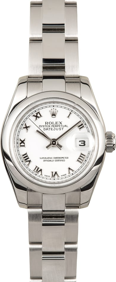 Rolex Lady-Datejust 179160 White Roman Dial