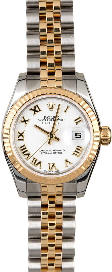 Women's Rolex Datejust 179173 White Roman Dial
