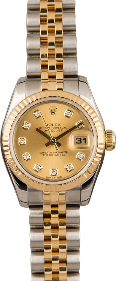 Used Rolex Datejust 179173 Champagne Diamond Dial