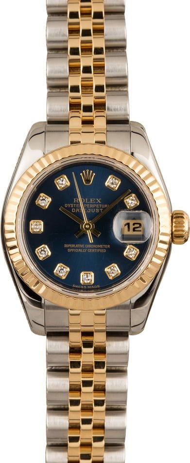 Pre Owned Rolex Lady-Datejust 179173 Blue Diamond Dial
