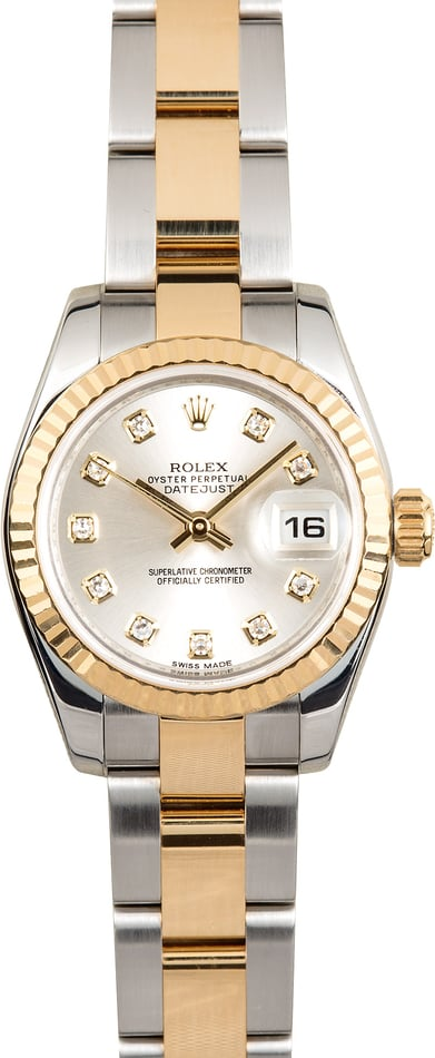 Rolex Lady-Datejust 179173 Silver Diamond Dial