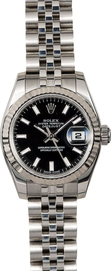 Lady Rolex Datejust 179174 Black Luminescent Dial