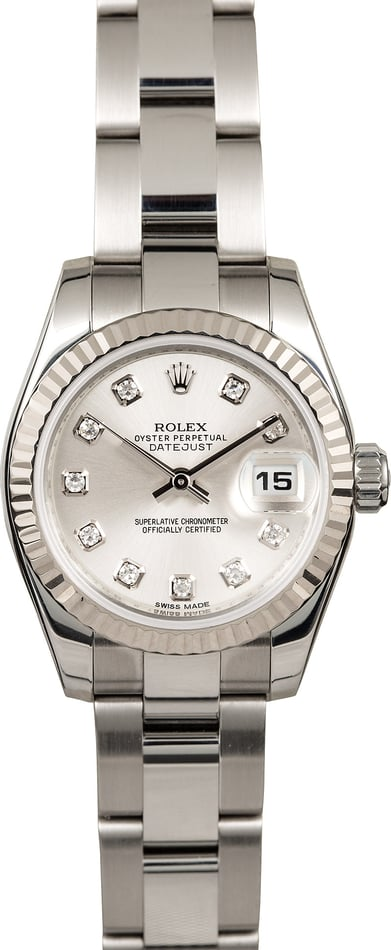 Rolex Ladies Datejust 179174 Silver Diamond Dial