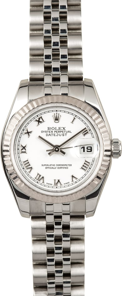 Rolex Lady-Datejust 179174 White Roman Dial