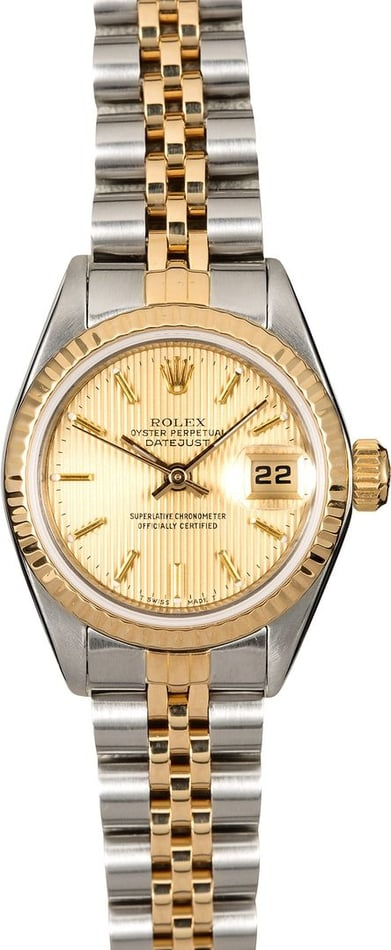 Women's Rolex Datejust 69173 Champagne Tapestry Dial