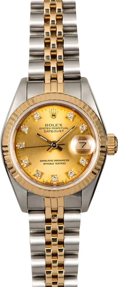 Pre-Owned Rolex Ladies Datejust 69173 Champagne Diamond Dial
