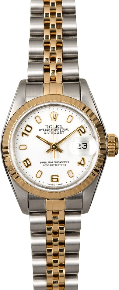 Rolex Ladies Datejust 69173 White Arabic Dial