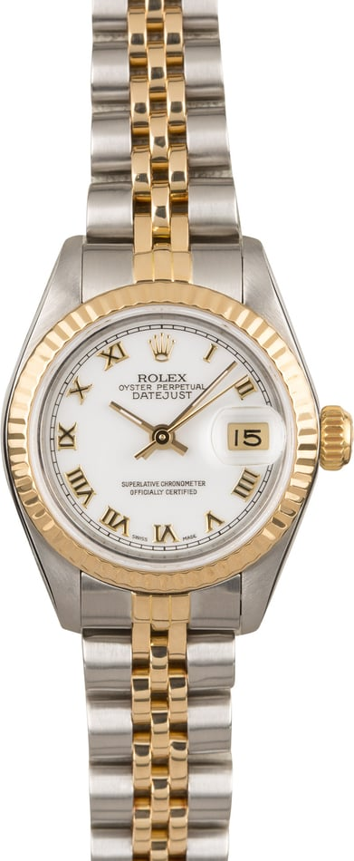 Rolex Lady Datejust 69173 White Roman Dial Two Tone Jubilee