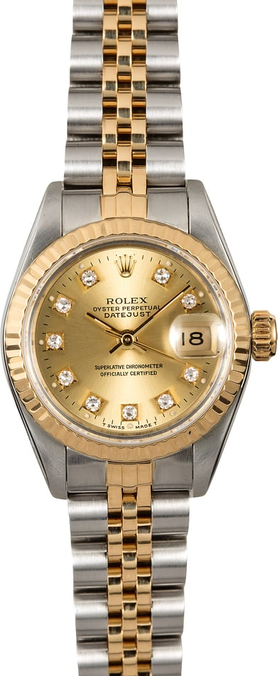 Certified Rolex Lady Datejust 69173 Champagne Diamond Dial