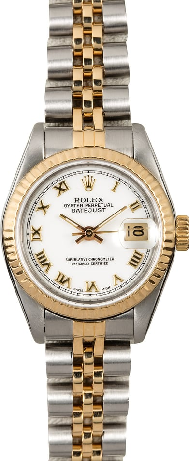 Pre-Owned Rolex Lady Datejust 69173 White Roman Dial